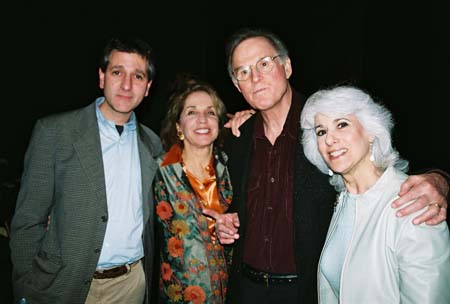 Elliot Fox (Primary Stages Managing Director), Dasha Epstein, Charles Grodin and Jamie DeRoy at An Evening with Charles Grodin