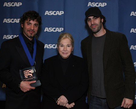 Erran Baron Cohen, ASCAP President and Chairman Marilyn Bergman and Sacha Baron Cohen at  Marc Shaiman Scores Mancini Award