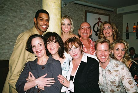 Top Row: Robert Fowler, Angie Schworer, Peter Marinos and Christina Norrup; Bottom Row: Jennifer Smith, Madeleine Doherty, Kathy Fitzgerald, Eric Gunhus and Angie C. Creighton at The Producers Closing Night Party at Tony's