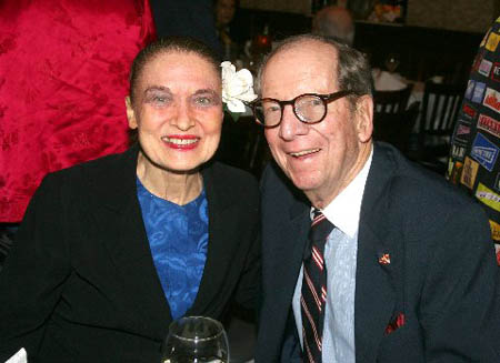 Julie Wilson and Senator Roy Goodman at Celeste Holm's 90th Birthday Party