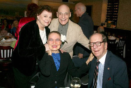 Carole Shelley, Julie Wilson, Don Dellair and Senator Roy Goodman at Celeste Holm's 90th Birthday Party