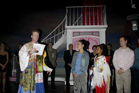 Brian O'Brien, Emily Hsu (Past Gypsy Robe winner), Brynn Williams and David Eggers at Legally Blonde Gypsy Robe Ceremony