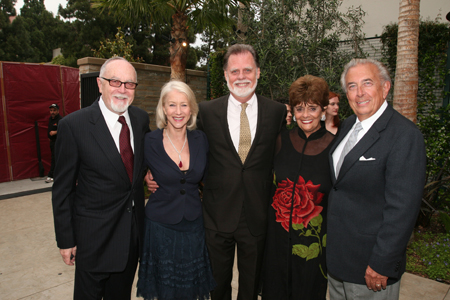 Gil Cates with Helen Mirren, Taylor Hackford, Fay and Frank Mancuso (former CEO of Paramount Pics) at  Geffen Honors Helen Mirren in L.A.