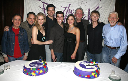 Anthony Fedorov with Tom Jones and cast members including Burke Moses, Julie Craig, John Deyle, Martin Vidnovic, Robert R. Oliver and Nick Spangler at Fedorov Celebrates 2 Fantastick Birthdays