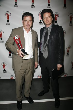 Derek McLane and John Fugelsang at Lucille Lortel Awards