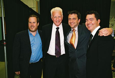 Mark Routh, Tom Viertel, Raul Esparza and Darren Bagert at Drama Desk Awards Press Room & After-Party