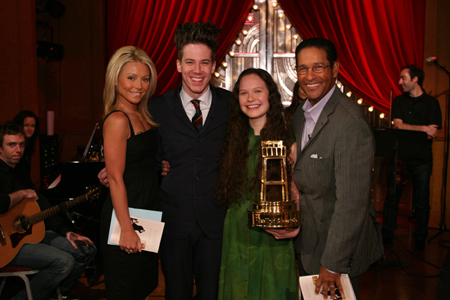 Kelly Ripa, John Gallagher, Jr., Lauren Pritchard and Bryant Gumbel at Spring Awakening Stars on 'Regis & Kelly'