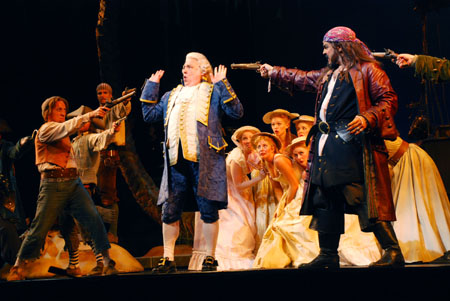 Roger Preston Smith, Michael Rossmy and Ed Dixon (Photo by Jacqueline Gedonious) at Paper Mill's Pirates! in Previews