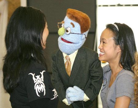Angela Ai and Minglie Chen at Avenue Q Tour Press Rehearsal