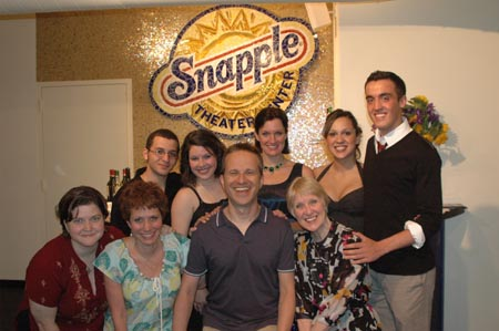 (Back row L to R): Hani Al-Dahshan, Sara Zientek, Robyn Hussa (Co-Director/Normal In Schools Creator), Jessie Liederbach and Robert Postonik; (Front L to R) Mary-Mitchell Campbell, Cheryl Stern (Lyricist), Tom Kochan (Music) and Yvonne Adrian (Book) at Snapple Theater Center's nor'mal Fundraiser