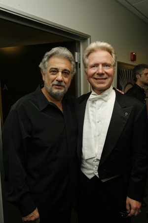 Plácido Domingo and John Mauceri at  Chenoweth, Alexander Open Hollywood Bowl