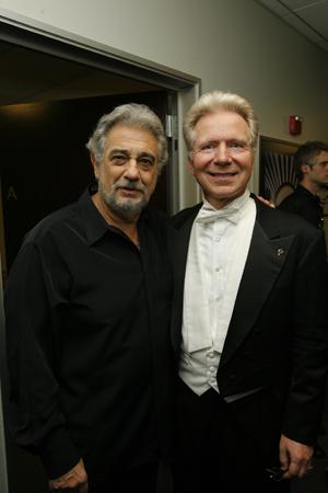 Plácido Domingo and John Mauceri at  Chenoweth, Alexander Open Hollywood Bowl
