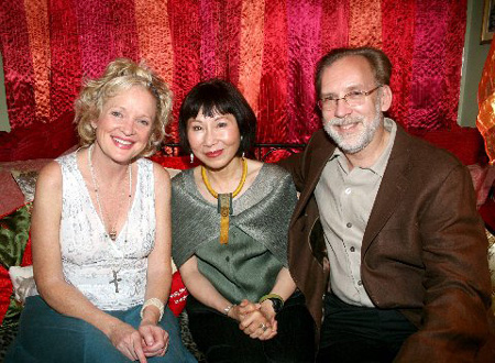 Christine Ebersole, Amy Tan and Michael Korie at Amy Tan Visits Grey Gardens