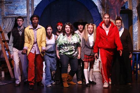 The cast - Jon Balcourt, Roy George, Jennie Riverso, Nikita Richards, Babs Rubenstein, Ryan Sprague, Courtney Ellis, Joe Walker and Joella Burt at Idol: The Musical