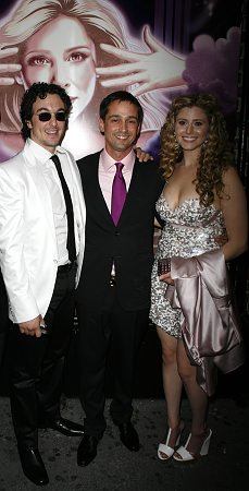 Brian Swibel, Robert Ahrens and Tara Smith at Xanadu Opening Night Arrivals