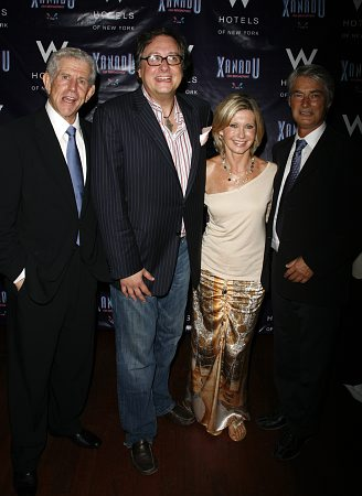 Tony Roberts, Douglas Carter Beane, Olivia Newton-John and John Farrar at Xanadu Opening Night Party