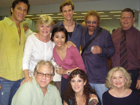 Clockwise from the left: Nick Rodriquez, Teri Ralston, Angel Desai, Lee Rosen, Composer/lyricist Walter Marks, Jim Morgan, Nancy McCall, Deone Zanotto, Stuart Ross at York Theatre Co.'s Bajour Opening Night