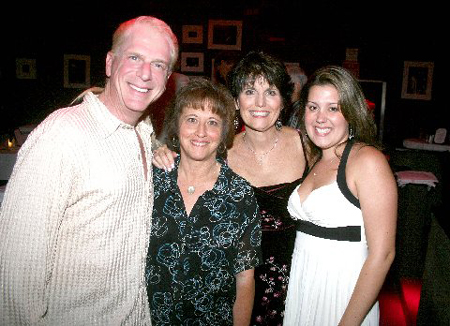 Ron Abel, Eleanor Albano (Abel's lyricist for the musical Rockwell), Lucie Arnaz and Kate Luckinbill at Ron Abel at Birdland