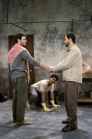 Arian Moayed, Sanjit DeSilva, and Daoud Heidami at Off-Broadway's 'Masked' in Previews