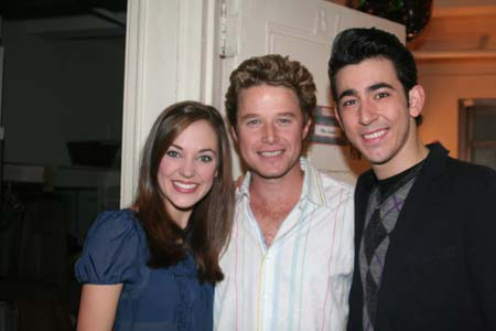 Billy Bush, Laura Osnes and Max Crumm at Billy Bush Visits Backstage at 'Grease'