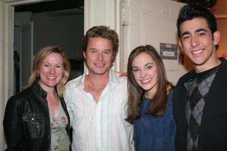 Kathleen Marshall, Billy Bush, Laura Osnes and Max Crumm at Billy Bush Visits Backstage at 'Grease'