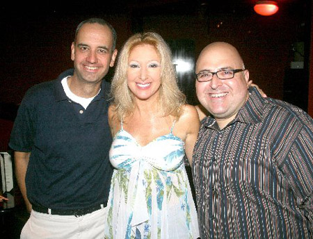 Producer of HomoComicus Robert Montgomery, with Kim Cea and Frank DeCaro at HomoComicus at Gotham Comedy Club 8/1