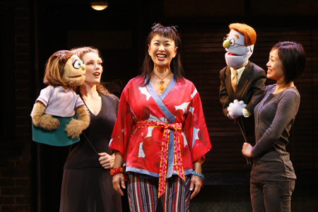 Kelli Sawyer with Kate Monster, Angela Ai, and Minglie Chen with Rod at Avenue Q National Tour Launches in SF
