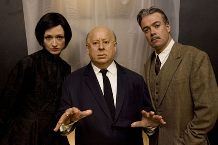 Robert Portal and Rachel Pickup with 'Alfred Hitchcock' at The 39 Steps Celebrates Hitchcock's B'Day