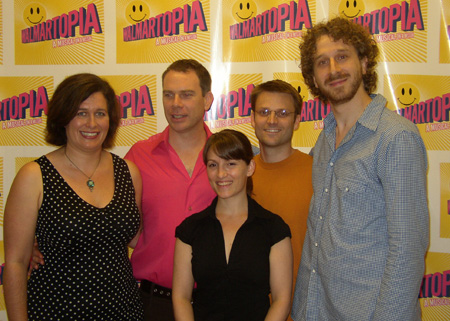 The creative team: Catherine Capellaro (book), Andrew Rohn (music & lyrics), Wendy Seyb (choregraphy), August Eriksmoen (music direction) and Danny Goldstein (director) at Walmartopia Press Preview