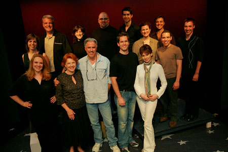 Clockwise from left:  Jane Brockman, Ken McMullen, Deone Zanotto, Ray Bokhour, Denis Lambert, Tina Stafford, Vincent D'Elia, Robin De Jesus, Joseph Cullinani, Crista Moore, Aaron Ramey, Jeff McCarthy, Beth Fowler, Emily Skinner at York Theatre's 'Zorba' In Rehearsals