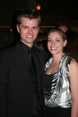Shawn Gough (Musical Director) and Natalie Bradshaw at 'Happy Days' Opening Night Party