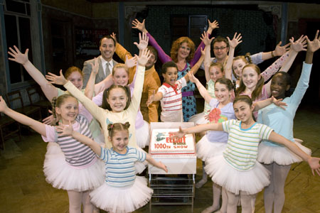David Furnish, Craig Armstrong, Layton Williams, Jackie Clune, Lee Hall and the ballet girls celebrate 1000th performance at 'Billy Elliot' Marks 1000th Performance