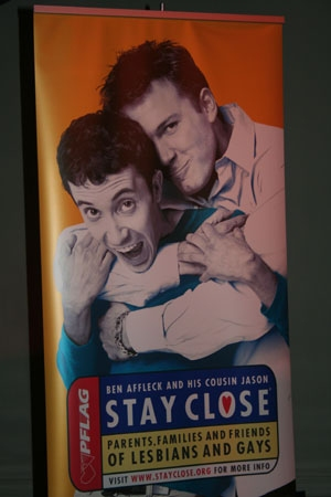 "Ben Affleck featured in the PFLAG NYC ""Stay Close"" campaign with his cousin Jason Fleetwood-Boldt"