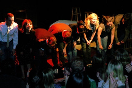 Curtain call, the cast of Love of a Pig (l-r): Michael Ferrell, Jenny Greer, David Nelson, Steven Strobel, Dana Brooke, Ginny Lee, Marie C. Anderson and Aaron Davis