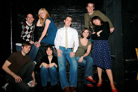 The cast of Love of a Pig: Steven Strobel, David Nelson, Dana Brooke, Ginny Lee, Michael Ferrell, Marie C. Anderson, Aaron Davis, and Jenny Greer