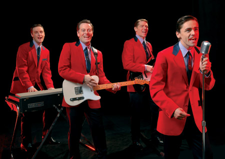 l-r: Stephen Ashfield (playing Bob Gaudio), Glenn Carter (playing Tommy Devito), Philip Bulcock (playing Nick Massi) and Ryan Molloy (Frankie Valli) at 'Jersey Boys' Opens in West End March 18