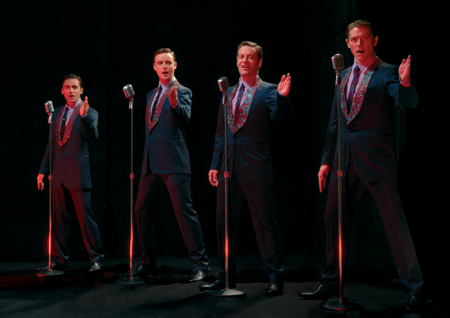 l-r: Ryan Molloy, Stephen Ashfield, Glenn Carter and Philip Bulcock at 'Jersey Boys' Opens in West End March 18