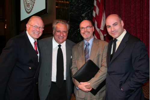 Jean-Pierre Trebot (Friars Club Executive Director Emeritus), Friar Stewie Stone, Barry Dougherty and Michael Gyure (Friars Club Executive Director)