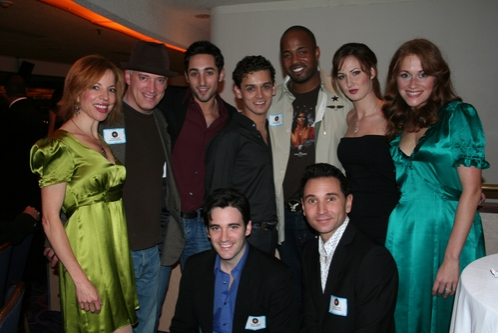 Jennifer Naimo, Donni Kehr, Eric Schneider, Michael Longoria, Kris Coleman, Heather Ferguson, Erica Piccininni, Colin Donnell and Travis Cloer at BC/EFA Jersey Boys Cocktail Reception