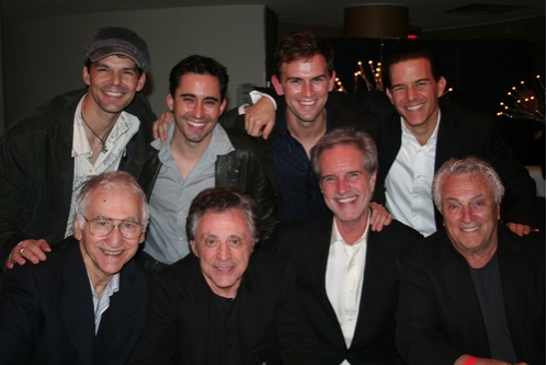 J. Robert Spencer, John Lloyd Young, Daniel Reichard, Christian Hoff, Joe Long, Frankie Valli, Bob Gaudio and Tommy DeVito
