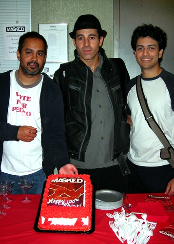 Rajesh Bose (on that evening at Na'im), Waleed Zuaiter (Daoud) , and Sanjit De Silva (Chaled) celebrate their 100th performance