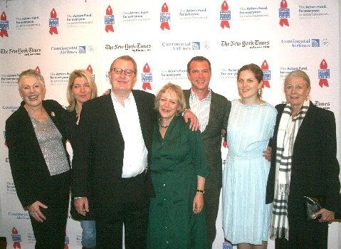 l-r, The Redgrave Family: Lynn Redgrave, Jemma Redgrave, Corin Redgrave, Corin's wife Kika Markham, Luke Redgrave, Annabel Clark (Lynn's daughter) and Vanessa Redgrave