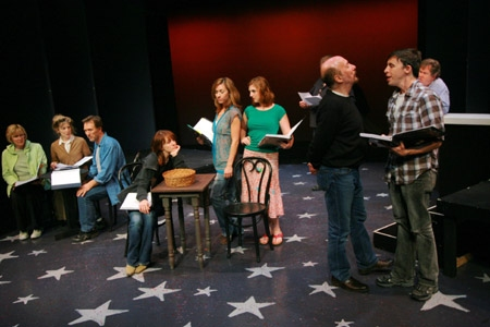 l-r: Joy Franz, Maureen Silliman, Michael Medeiros, Betsy DeLellio, Wendi Bergamini, Jacque Carnahan, Laurent Giroux, Kevin Cahoon and John O'Creagh at 'The Baker's Wife' in York Theatre Rehearsal