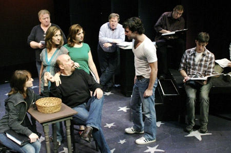 Richard Pruitt, John O'Creagh and Rick Crom; front: Betsy DeLellio, Wendi Bergamini, Jacque Carnahan, Laurent Giroux, Max von Essen and Kevin Cahoon at 'The Baker's Wife' in York Theatre Rehearsal