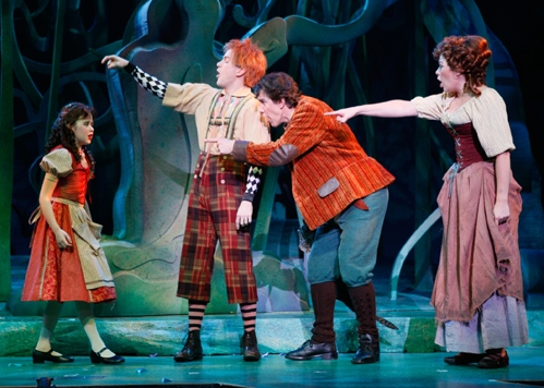 "Little Red Ridinghood (Ireland Woods), Jack (Eric Ankrim), The Baker (Bob De Dea) and Cinderella (Billie Wildrick) point fingers in ""Your Fault"""