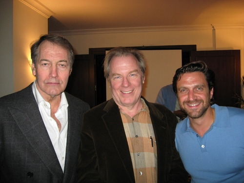 Charlie Rose with Michael McKean (Sam) and Raul Esparza (Lenny)