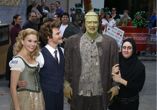 l-r: Sutton Foster, Roger Bart, Shuler Hensley and Christopher Fitzgerald Photo