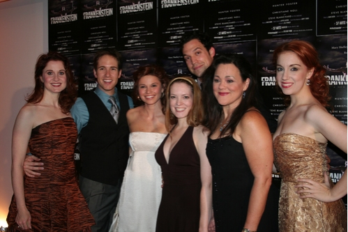 Christiane Noll, Nick Cartell (Various Characters), Mandy Bruno (Justine), Leslie Henstock (Various Characters), Aaron Serotsky (Walton/Blind Man), Becky Barta (Caroline) and Casey Erin Clark (Agatha) at 'Frankenstein' Opening Night Party