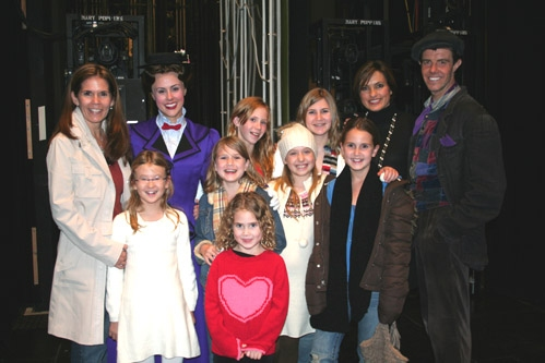 Mariska Hargitay with family and friends, enjoy a backstage visit with Megan Osterhaus and Gavin Lee