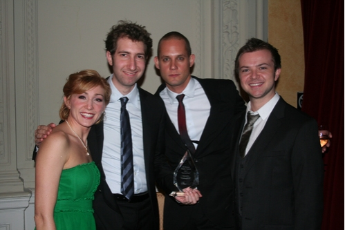 NYMF 2007 Award for Excellence - Outstanding Ensemble Performance Unlock'd along with Verizon 'Best of the Fest' Audience Prize; Sarah Jane Everman, Sam Carner (Book and Lyrics), Derek Gregor (Music) and Chris Gunn at NYMF Awards Gala